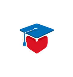 square academic cap heart student design logo vector image