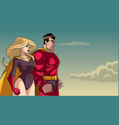 Superhero couple standing together vector