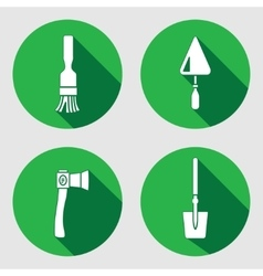 Tool icon set Brush trowel spattle surfacer vector image