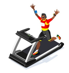 Treadmill Fitness Class Working Out Isometric vector