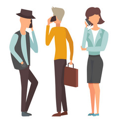 trendy flat people with phone gadgets group vector image