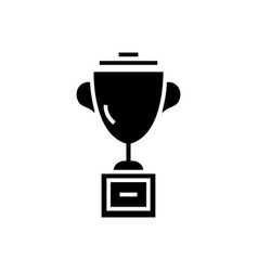trophy cup icon black sign vector image