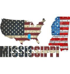 USA state of Mississippi on a brick wall vector