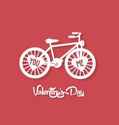 Valentines day greeting card with bicycle vector