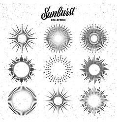 vintage grunge sunburst collection bursting sun vector image