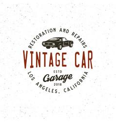 Vintage muscle car garage logo vector