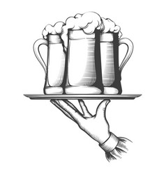Waiter holding tray with beer vector