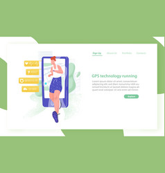Website template with jogging athlete or sportsman vector