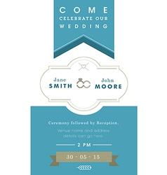 Wedding invitation blue ribbon theme vector image