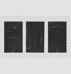 Wet crumpled black sheets vector