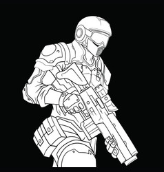 white contour drawing of a military man in a vector image