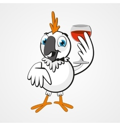 White funny cartoon hilarious parrot with a glass vector image
