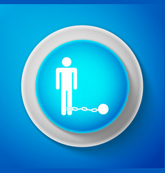 white prisoner with ball on chain icon isolated vector image