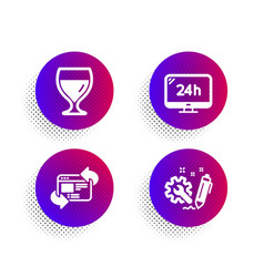 Wine glass 24h service and refresh website icons vector