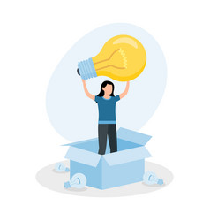 woman standing in box with light bulb concept vector image