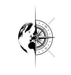 world map windrose symbol background vector image