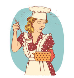 Young woman with retro clothes cooking soup vector