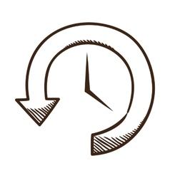 Clock and arrow vector image vector image