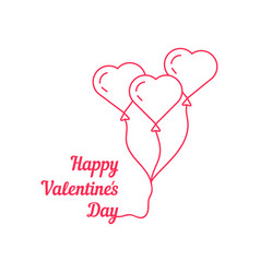 happy valentine s day with thin line balloon vector image vector image