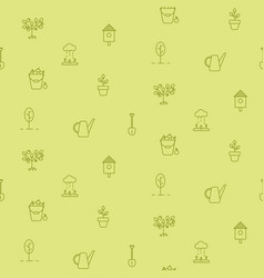 horticulture line icons seamless pattern vector image vector image