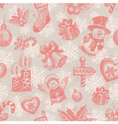 seamless hand drawn christmas background vector image vector image
