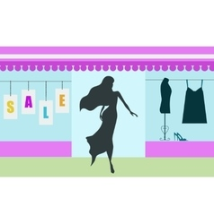 Shopping sale banner with woman silhouette vector image