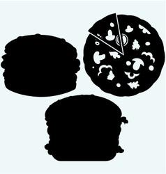 Circular cut pizza and hamburger vector image vector image