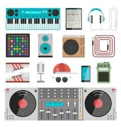 DJ music equipment set vector image