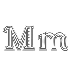 Font tattoo engraving letter m vector
