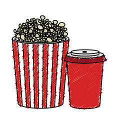 Pop corn and soda isolated icon vector