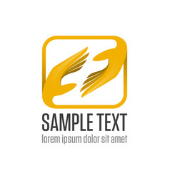 two hand logo vector image vector image