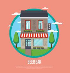 beer bar banner in flat design vector image vector image