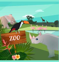 cartoon of wild animals in zoo funny vector image