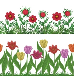 Grass and flowers set seamless vector image vector image