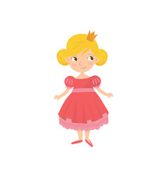 portrait of cute fairy tale princess in pink dress vector image vector image