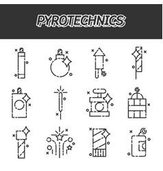 pyrotechnics flat icons set vector image