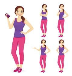 sport woman set vector image