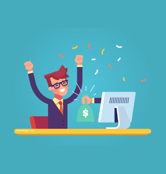 the hand from the monitor stretches a bag of money vector image vector image