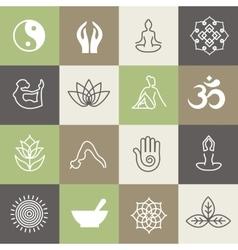 Yoga symbols and poses for pilates studio or zen vector