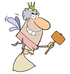 Caucasian Tooth Fairy Flying With A Bag And Mallet vector image