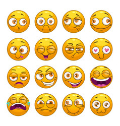 funny comic cartoon yellow smiley faces set vector image vector image