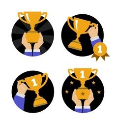 Hand holding golden trophy vector image vector image