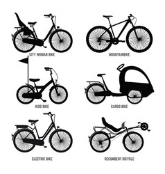 silhouette of different bicycles for children man vector image