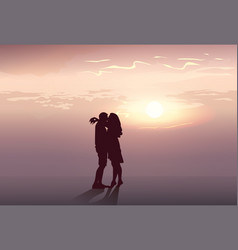 silhouette romantic couple embrace at sunset vector image