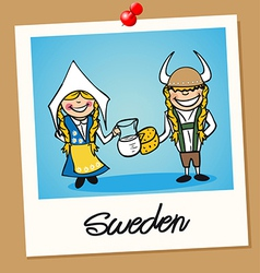 Sweden travel polaroid people vector image