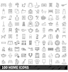 100 home icons set outline style vector