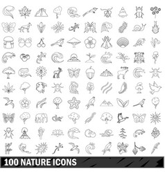 100 nature icons set outline style vector
