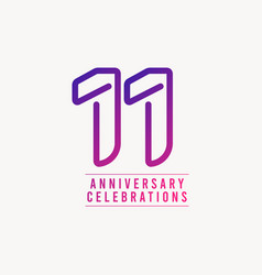 11 years anniversary celebration number template vector