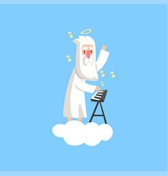 Almighty bearded god character on vector