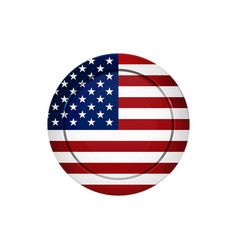 american flag on the round button vector image
